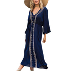 Embroidery 3/4 Sleeve Kaftan Dresses Women V Neck Beach Cover Up Swimwear