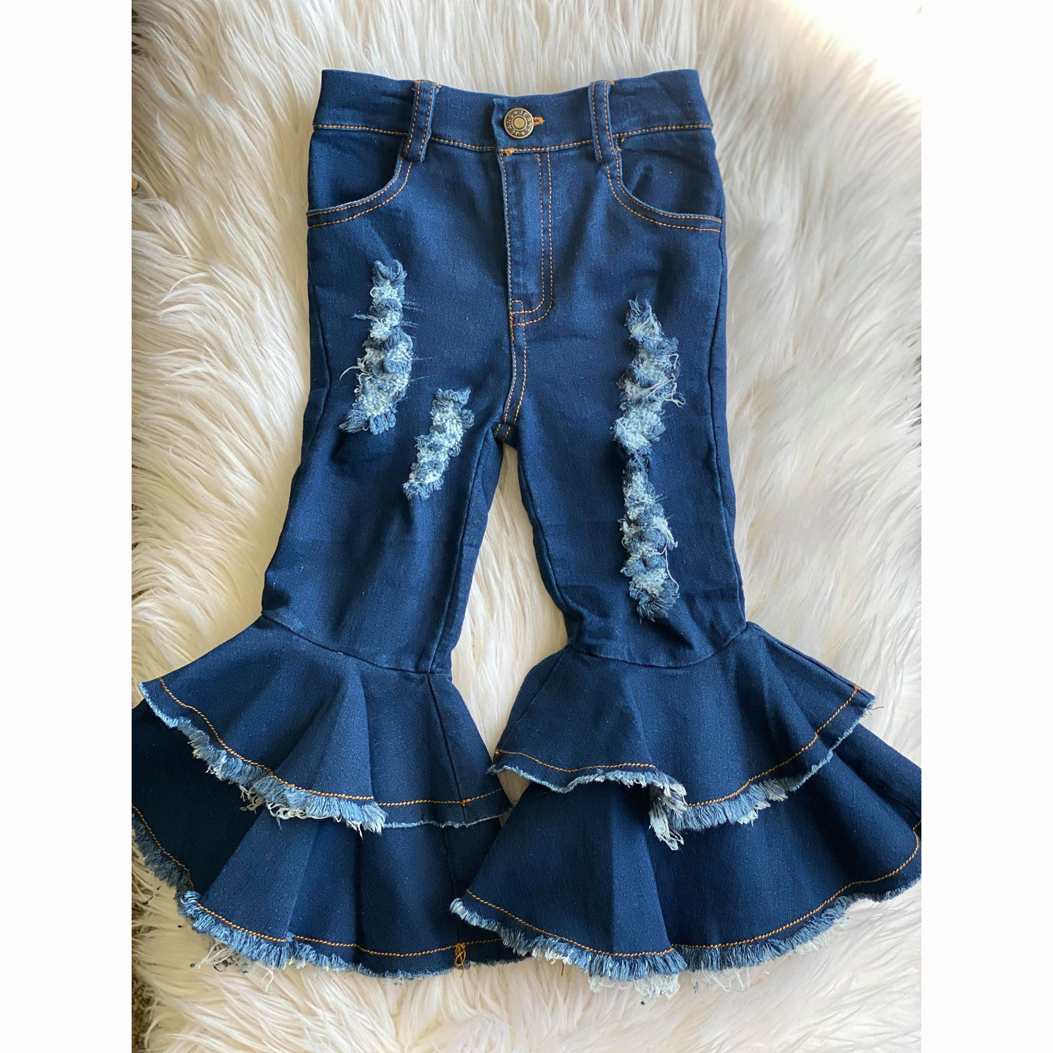 Baby <strong>girls</strong> fall long pants <strong>kids</strong> <strong>fashion</strong> two ruffle denim fabric material No moq children boutique matching cute wholesale pants