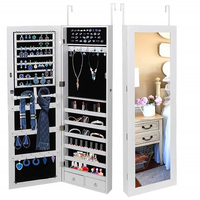 Wall mounted hanging armário com espelho de jóias de madeira para quarto
