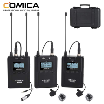 COMICA CVM-WM200(A) 96-Channel Full Metal UHF Professional Wireless Dual Lavalier Microphone System (394-Foot Range)(2TX+1RX)