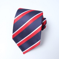 Hot selling wholesale blue and navy stripe 100% silk men tie set