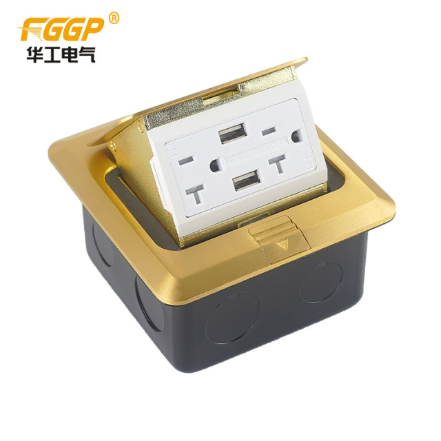hot selling BS US American Floor receptacle with usb/pop up floor socket outlet amazon floor mounted socket box