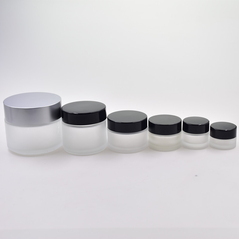 hot selling 50ml frosting surface round screw top skin care cream jar cosmetic bottle creamjars with plastic lid