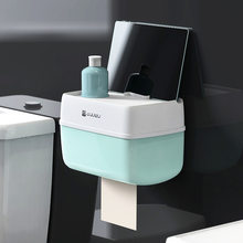 Бумажная коробка для хранения, держатель рулона туалетной бумаги для ванной комнаты, держатель для бумаги, настенное крепление, пластиковы...(Китай)