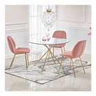 Dining Room New Design Dining Room Furniture Dining Table Tempered Glass Gold Chrome Leg Modern Nordic 4 Seater Round Dining Table Sets