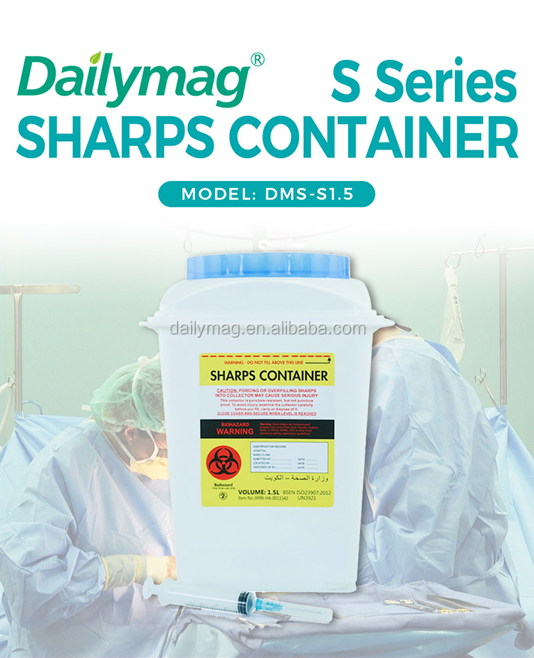 New Design US Market Approved Rotated Lid 3L Yellow Plastic Medical Sharps Disposal Container With Handle