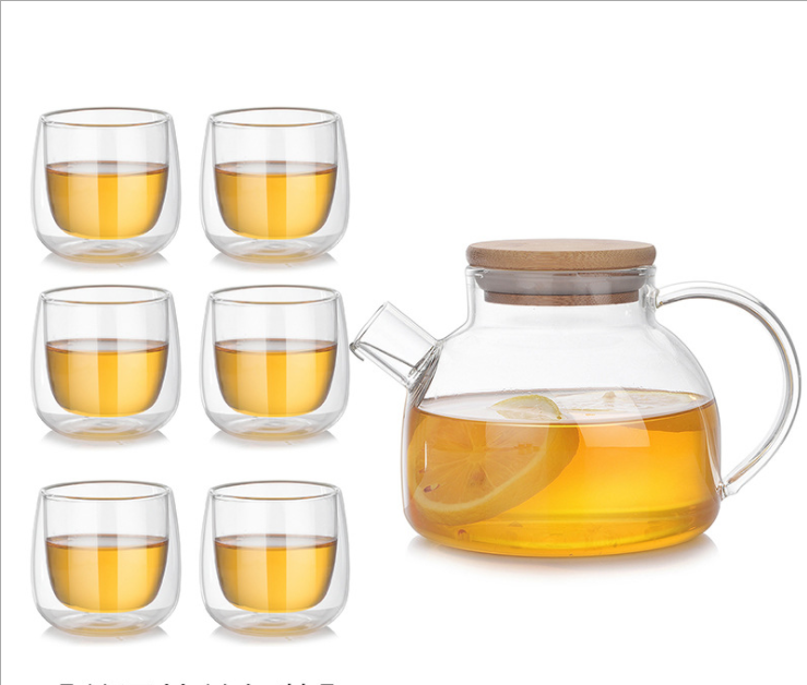 Heat-resistant Glass 1 Teapot and 4 Cups Coffee Tea Set
