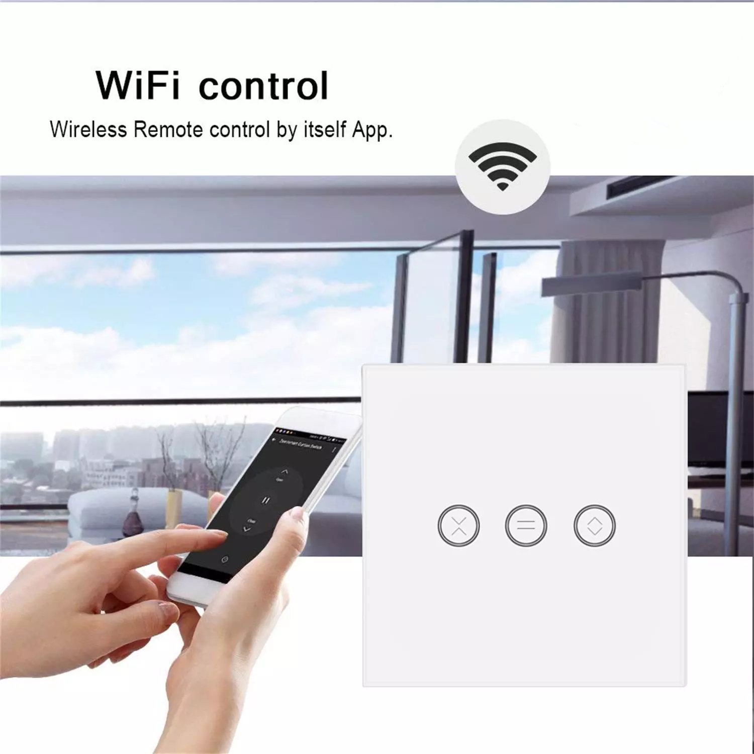 Tuya Xenon WiFi Remote Mobile Controlled Touch EU/UK/CN type curtain switch standard WiFi curtain Switch in tempered glass
