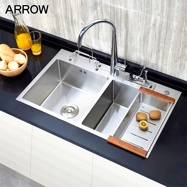 Commercial Handmade Double Bowl Stainless Steel Kitchen Sink With Drainboard Buy 304 Stainless Steel Kitchen Sink Double Bowl Stainless Steel Kitchen Sink Stainless Steel Kitchen Sink With Drainboard Product On Alibaba Com