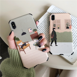 Cartoon Tpu Case for Iphone 11 Case Vintage Silk Matte Floral Phone Case for Iphone 7 11 Pro Xr X Max 6 8 Plus Soft Cover
