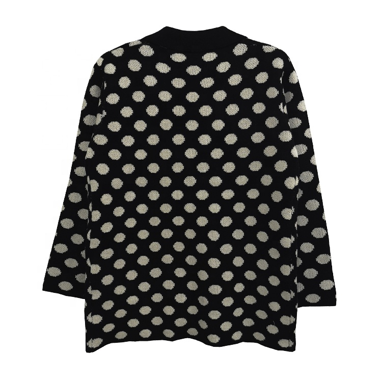 Custom Made Women <strong>Black</strong> White <strong>Long</strong> Sleeve Blouse <strong>Cardigan</strong> Ladies Elegant Casual Sweater Coat