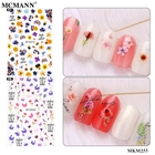 Flower Nail Sticker Hot Sell Bright Colored Flower Leaves Gel 3D Nail Sticker DIY Nail Decal Decoration
