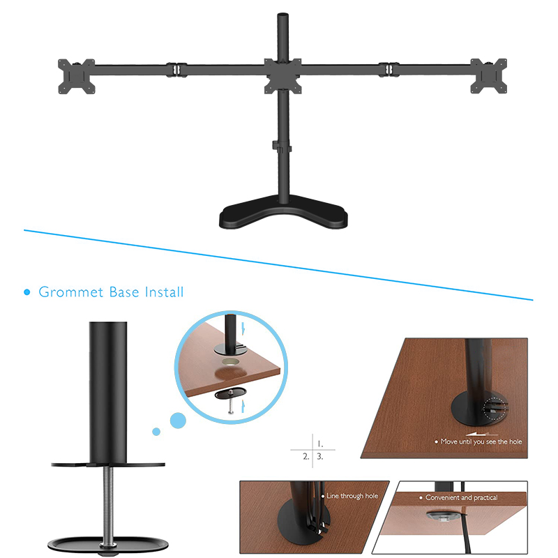 Adjustable Arms Triple Monitor Stand | 3 Monitor Mount Stand with Base fits for 13-32 inch Computer Screens