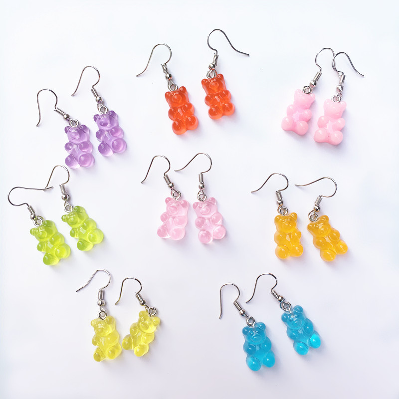 INS Hot Sale Creative Candy-colored Earrings Transparent Little Bear Pendant Earrings Wholesale