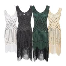 1920s frauen Vintage Pailletten Kleid Fringe Quaste Mantel Sexy Club Kleid Frau Party Nacht Flapper Great Gatsby Kleid