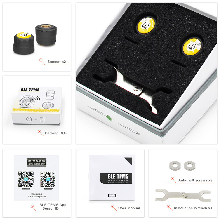 Motorcycle Tyre Pressure Monitoring System Real-time Alarm External BLE TPMS IOS/Android Bluetooth 4.0 Motor TPMS