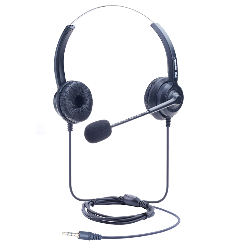 Dh600d dual ear mobile phone 3.5mm single plug microphone call center telephone headset office headset