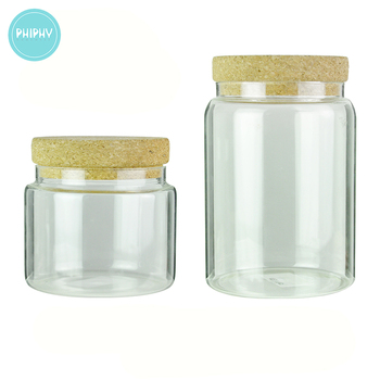 Phiphy storage jar modern shape with cork lid, water proof glass storage jar, glass jar