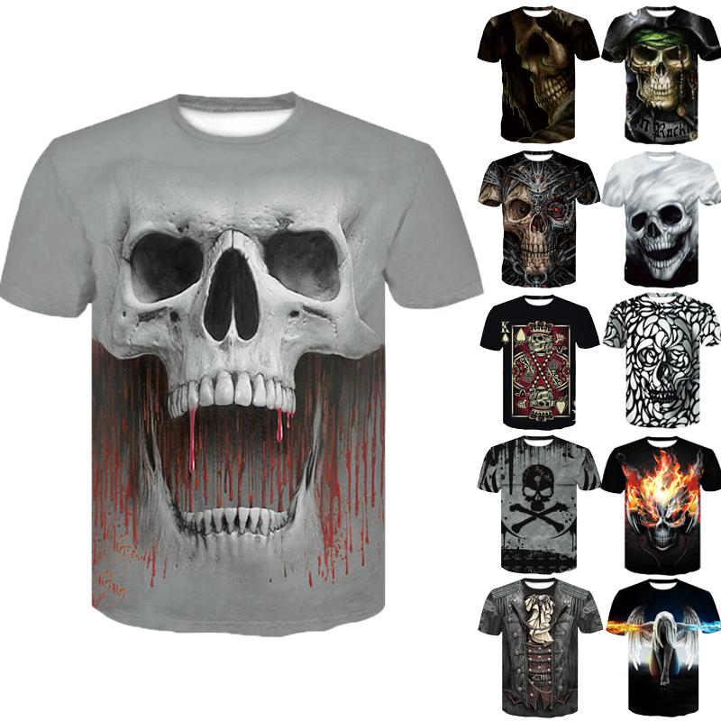 3D Skull T Shirt Men's Casual T-shirt Summer 3D Printed Round Neck Cool Shirt Street Fashion Hip Hop Tops T-shirt Graphic Tee