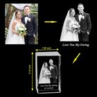 Wedding Gift HBL Personalised Custom 3D Laser Engraving Photo Crystal Cube Etched Glass Picture Block For Wedding Anniversary Gift