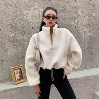 2020 custom autumn winter high quality Teddy hoodie for women puffsleeve pullover oversized thick crop top hoodie