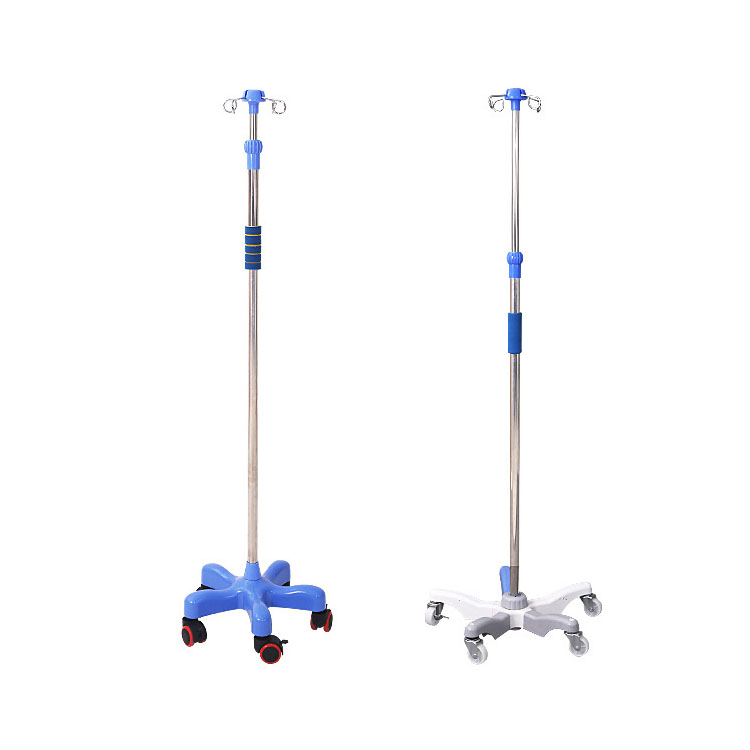 High quality Hospital Medical Infusion Stand Stainless Steel Collapsible Save Space IV Pole Drip Stand