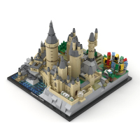MOC DIY Toy Hogvvarts Castle Architecture for Kids assembly plastic building block toys