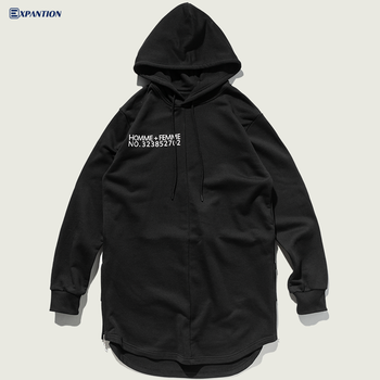 Factory Ready To Ship High Street Men Longline Curved Hem Hip Hop Side Zipper Hoodie