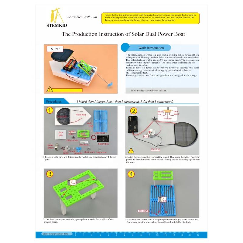 kids educational DIY solar dual power boat solar toys robot
