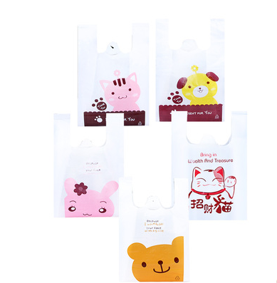 Cheap high quality print T-shirt plastic shop bags with design for gifts