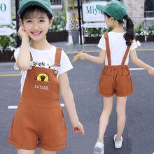 Джинсовые шорты для девочек, джинсовые комбинезоны с вышивкой, школьная одежда для девочек 5, 6, 7, 8, 2020, лето, детская одежда для девочек, 5, 6, 7, 8...(Китай)