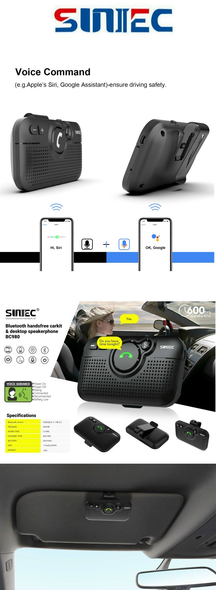 Hot selling 2020 New Multipoint siri voice command sun visor speaker phone car kit bluetooth handsfree for mobile