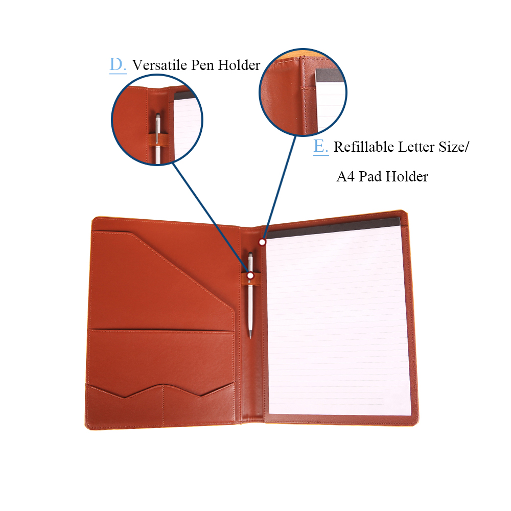 Best selling a4 office personalized pu leather sample business writing portfolio case file folder with pen holder notepad