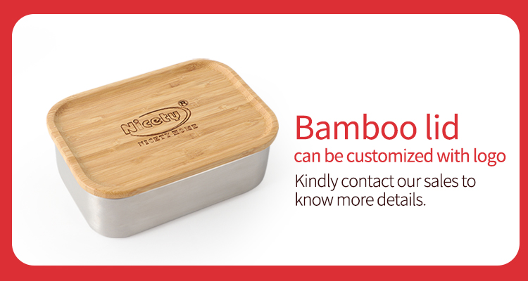 Custom logo print food container stainless steel rice storage box eco friendly lunch boxes bamboo lid