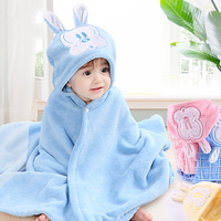 Wholesale Wearable Infant 100% Cotton Children's Baby Kids Bath Hooded Towels Wash Cloth