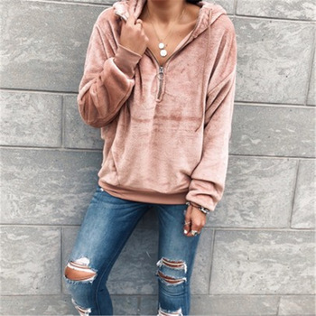 Autumn Solid Color Sweaters Sexy Long Sleeve Sweaters Hoodies Women Pullover Zipper Collar Hoodies