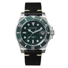 Мужские автоматические механические часы San Martin Diver, роскошные часы с сапфировым кристаллом и керамическим покрытием, светящееся окно на 20 б...(Китай)