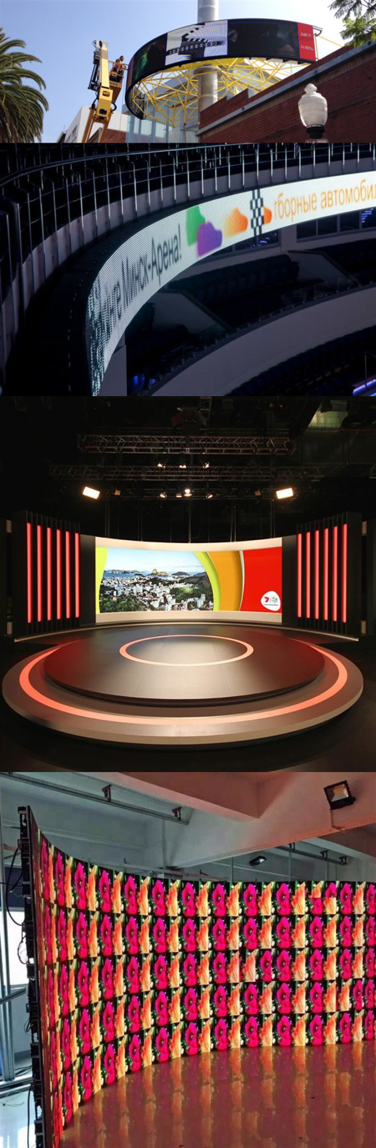 Curved programmable led display p3.91mm smd indoor module p2 rental