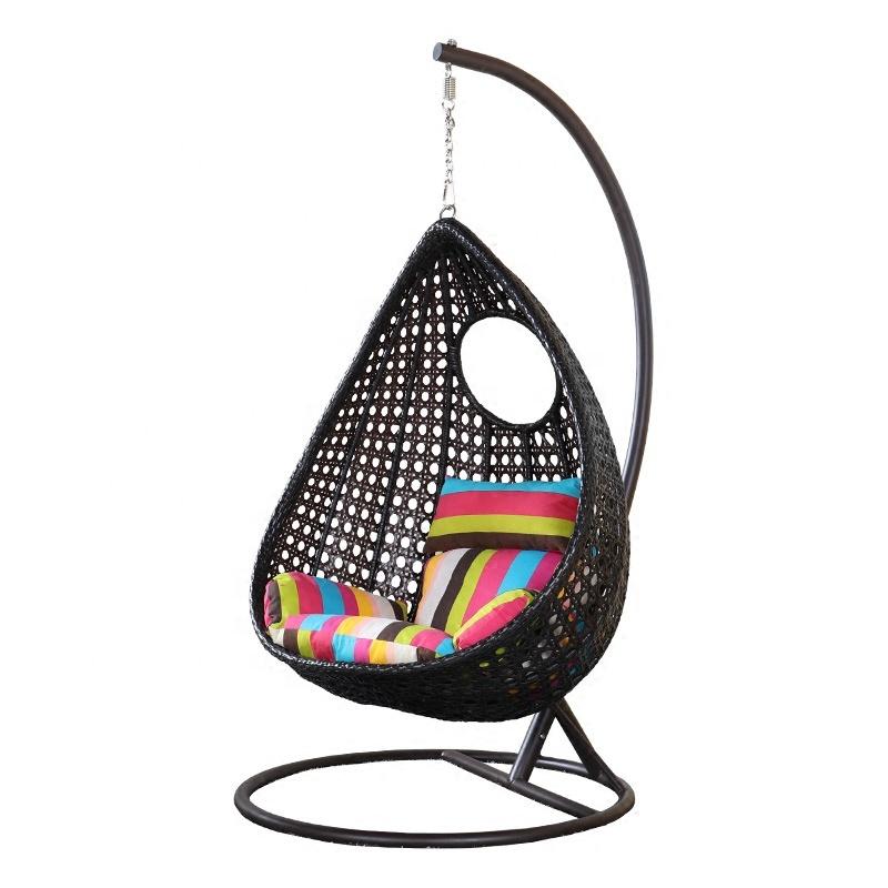 आउटडोर एकल विकर फांसी कुर्सी उद्यान धातु स्विंग कुर्सी आम आकार का अवकाश कुर्सियों