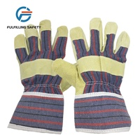 Pig split driver gloves working leather with stripe cotton back safety cuff half lining