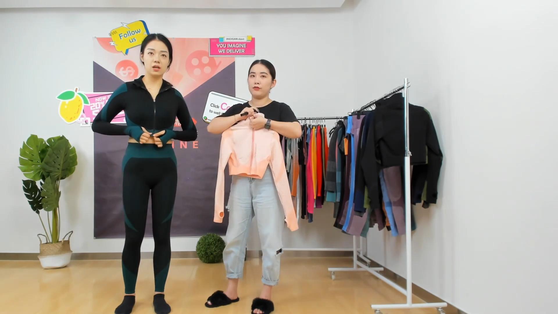 Senza soluzione di continuità della chiusura lampo top crop legging sport indossa 3 pezzi insieme del reggiseno di sport di yoga set 3 pezzi