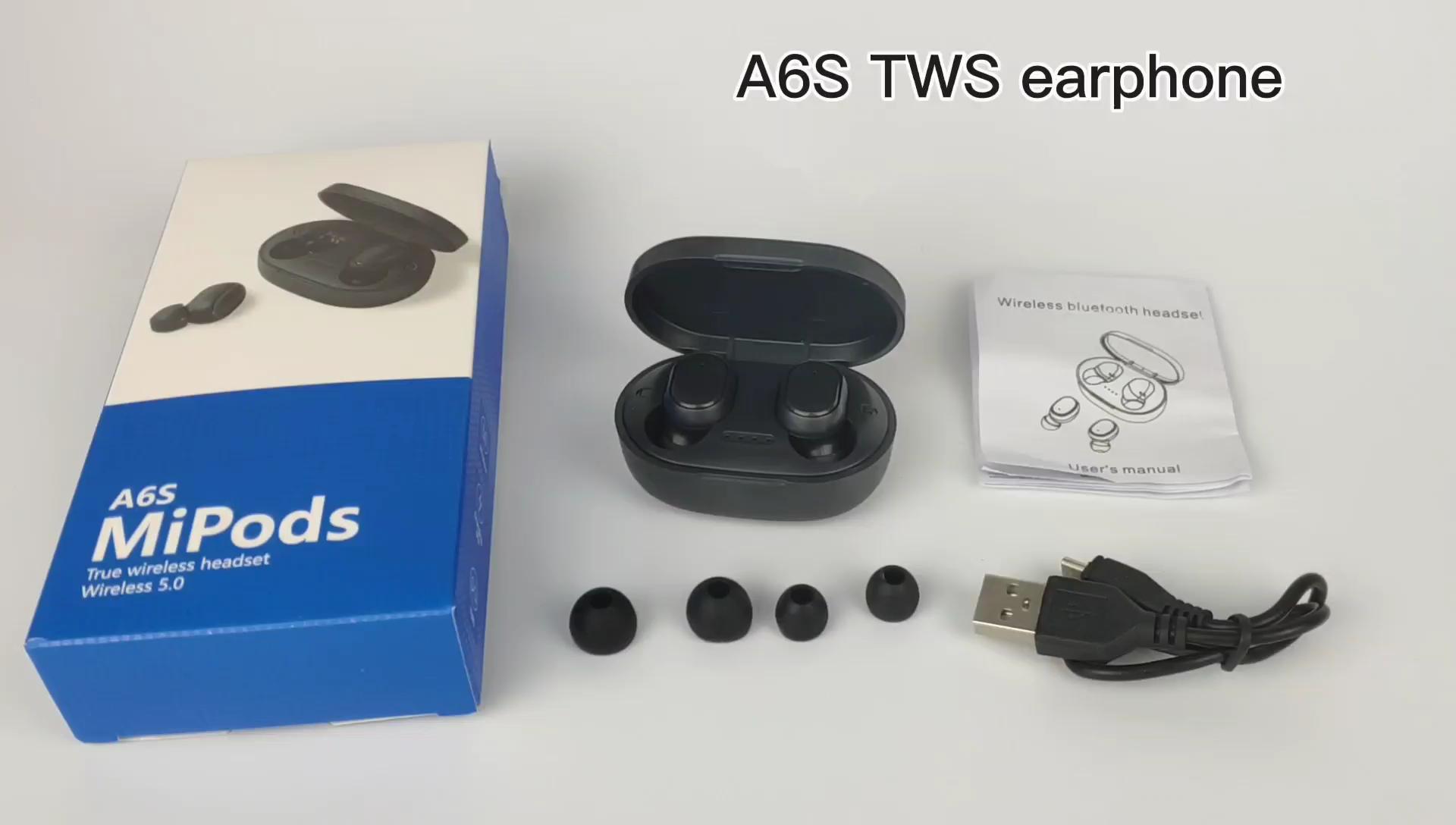A6S TWS Tai nghe Không Dây Earbuds V 5.0 Đôi Ture Earbuds Mini headphone