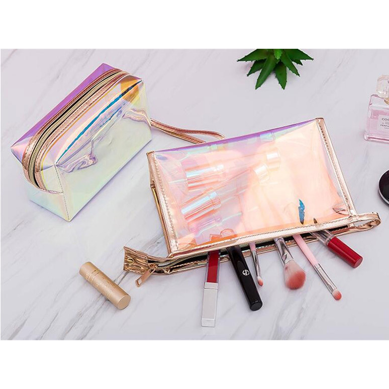 product-GF bags-2020 new 1 Pc Colorful Holographic Women Cosmetic Bag TPU Clear Makeup Bag Beauty Or-1