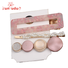 New 3PCS/Set Fashion Pearls Acetate Geometric Hair Clips Sweet Hairpins Barrettes Hair Accessories Set for women and girls