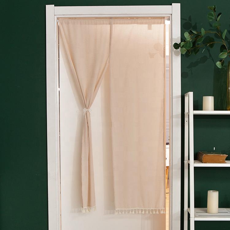 Домашняя декоративная занавеска для кухни, гостиной, однотонная занавеска на пол-веревки с кисточками