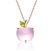 Lovely Crystal Pink Apple Shape Pendant Necklace For Women Girls Birthday Party Christmas Gift