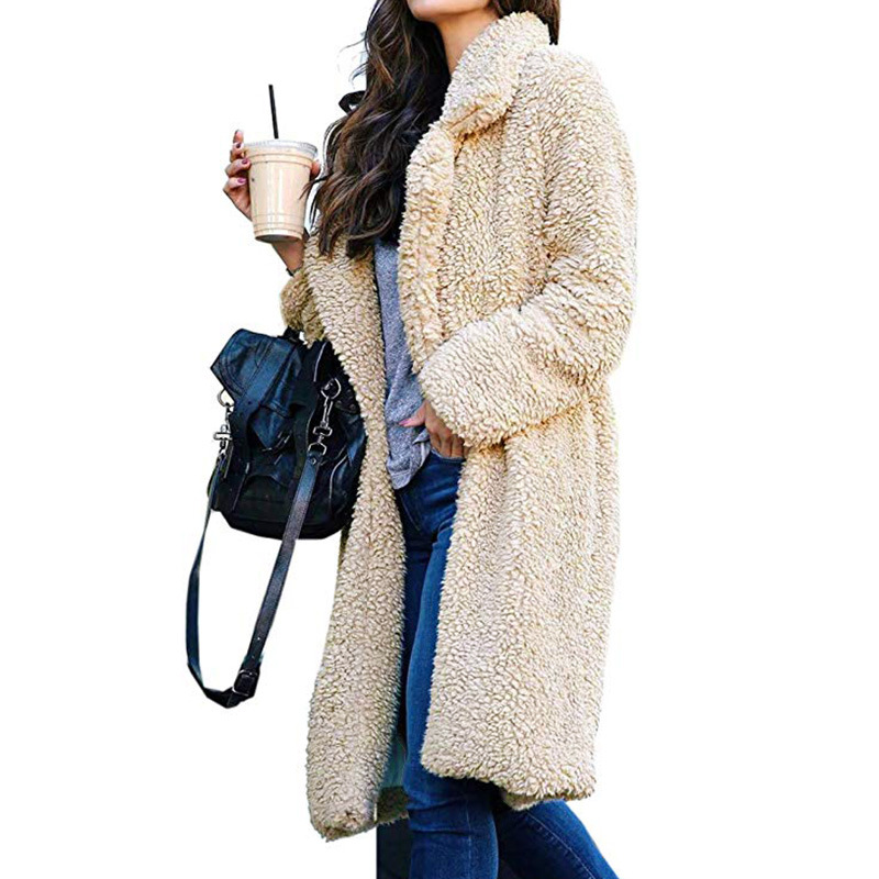 Fashion plus size casual solid color <strong>trench</strong> <strong>women</strong> fur winter sweater <strong>coat</strong> <strong>for</strong> wholesales