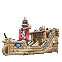 Wholesale Top quality big inflatable pirate ship slide for sale