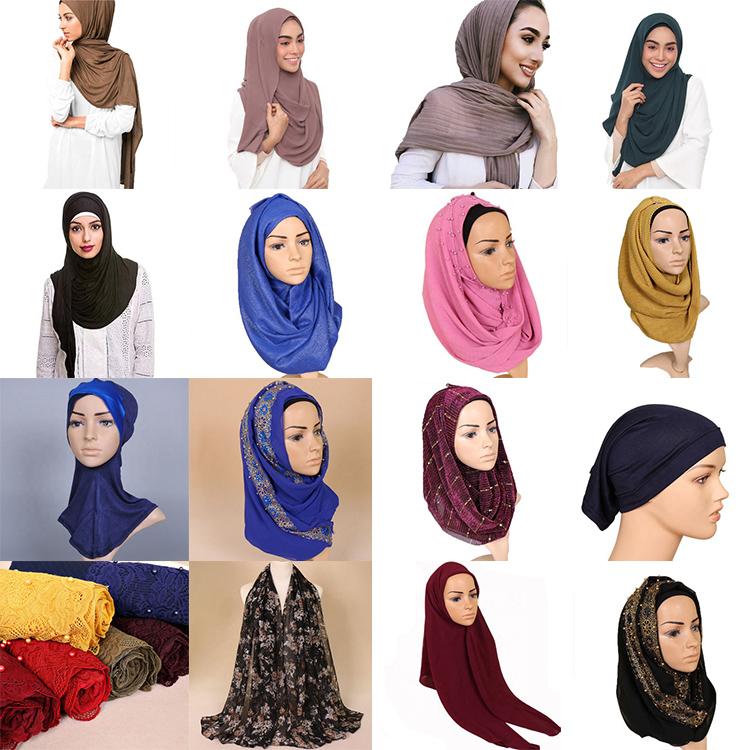 Groothandel Goede Elastische Gemerceriseerde Katoen 20 Kleuren Inner Onder Sjaal Buis Motorkap Cap Hijab