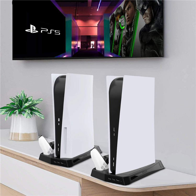 Amazon Top Seller Play Station 5 Game Accessories PS5 Controller Charging Station Console Vertical Stand Cooling Fan 3 USB Hub